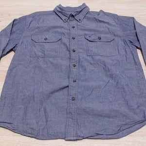 Carhartt Men's Button Down Large Blue Regular Fit